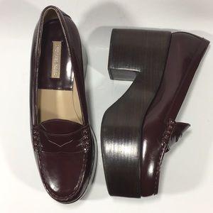 Chunky Platform Loafers Michael Kors Wine 8.5